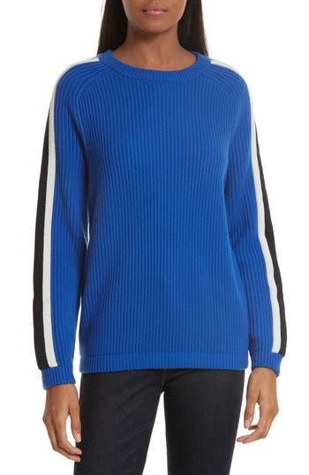 Women's Tory Burch Val Stripe Sleeve Sweater, Size Small - Blue