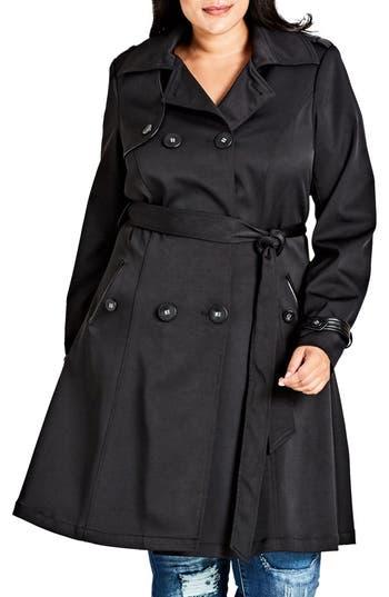 Plus Size Women's City Chic Corset Back Trench Coat