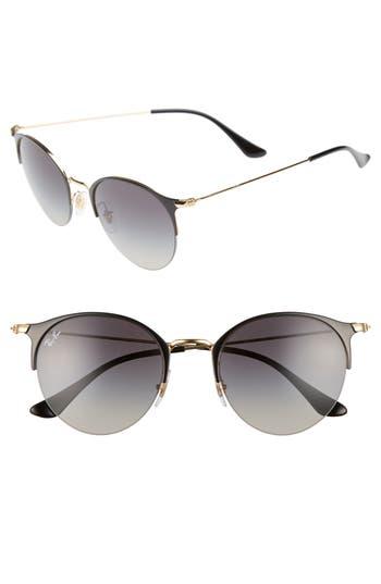 Men's Ray-Ban 50Mm Round Sunglasses - Gold Black/ Light Grey