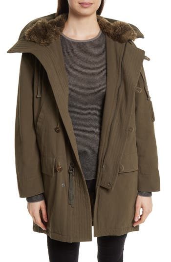 Women's Vince Faux Fur Trim Military Parka
