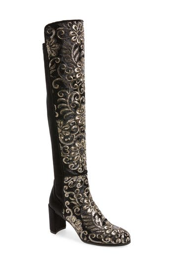 Women's Stuart Weitzman Lowjack Over The Knee Stretch Velvet Boot, Size 5 M - Black