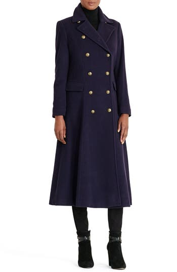 1920s Style Coats Womens Lauren Ralph Lauren Double Breasted Military Maxi Coat Size 16 - Blue $420.00 AT vintagedancer.com