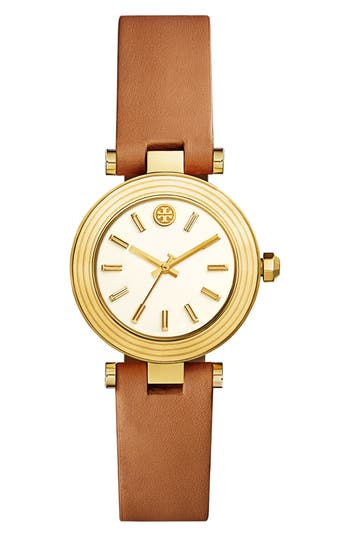 Women's Tory Burch Classic-T Leather Strap Watch, 30Mm