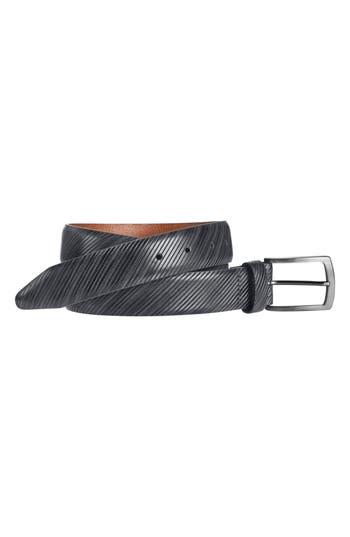 Johnston & Murphy Diagonal Embossed Leather Belt, Gray