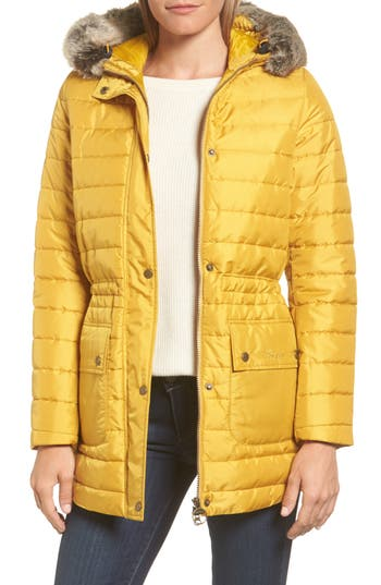 Women's Barbour Ascott Water Resistant Quilted Jacket, Size 4 US / 8 UK - Yellow
