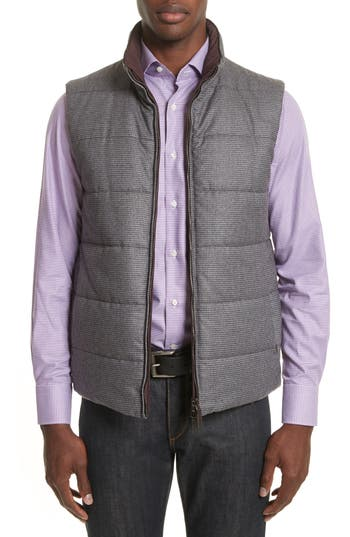 Men's Canali Reversible Quilted Water-Repellent Wool Vest