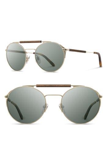 Shwood Bandon 52Mm Round Sunglasses - Matte Gold/ Walnut/ G15