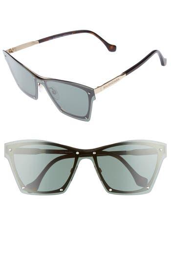 Balenciaga 55Mm Frameless Sunglasses - Rose Gld/ Drk Havana/ Grn Smke