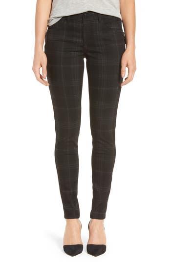 Women's Wit & Wisdom Ab-Solution Side Zip Plaid Skinny Pants, Size 2 - Black