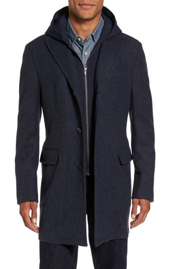 Men's Cardinal Of Canada Hooded Wool & Cashmere Top Coat