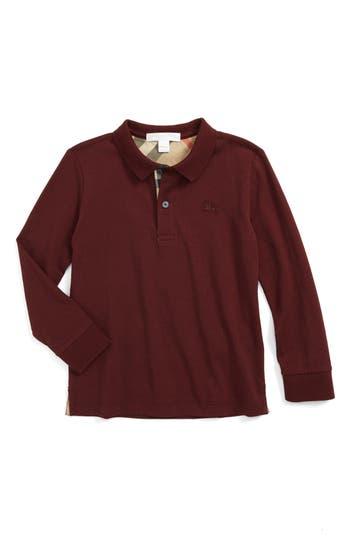 Boy's Burberry 'Mini' Long Sleeve Polo Shirt