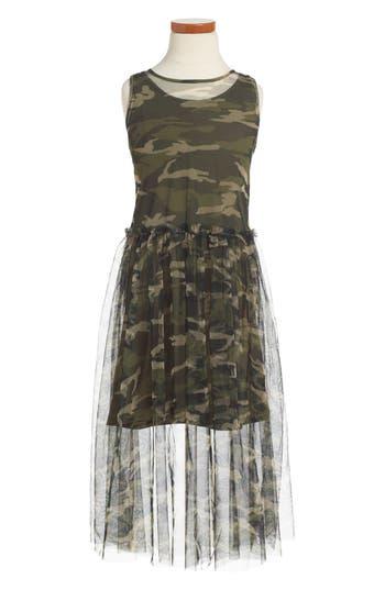 Girl's Bebe Tulle Overlay Tank Dress
