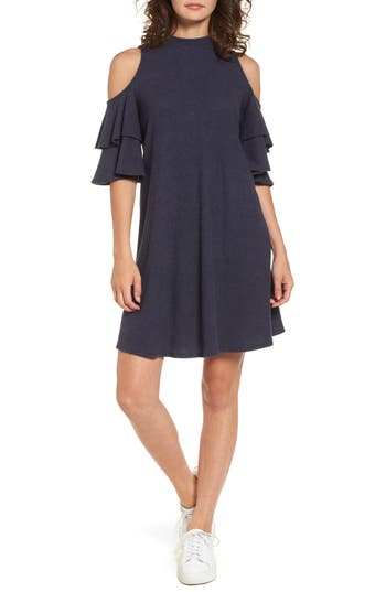 Women's Soprano Ruffle Cold Shoulder Shift Dress, Size X-Small - Blue