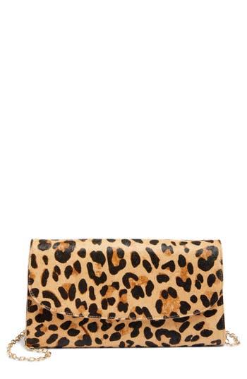 Nordstrom Genuine Calf Hair Leopard Print Clutch -