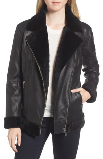 Trouve Genuine Shearling Moto Jacket, Black