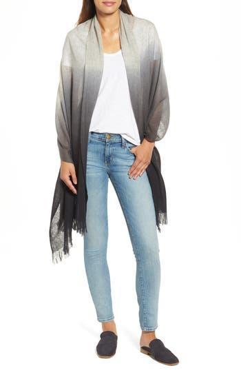 Women's Caslon Dip Dye Cashmere Wrap, Size One Size - Grey