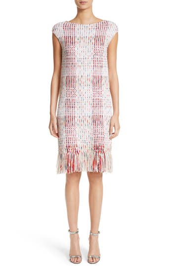 Women's St. John Collection Ribbon Macro Plaid Knit Dress