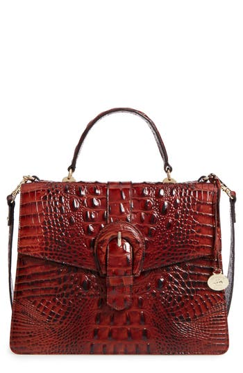 Brahmin Melbourne Gabriella Embossed Leather Satchel - Brown
