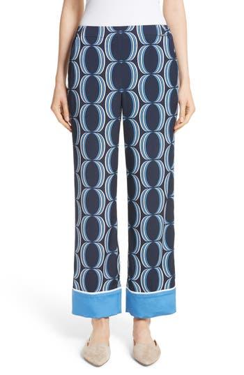 Women's St. John Collection Oval Print Stretch Silk Twill Pants