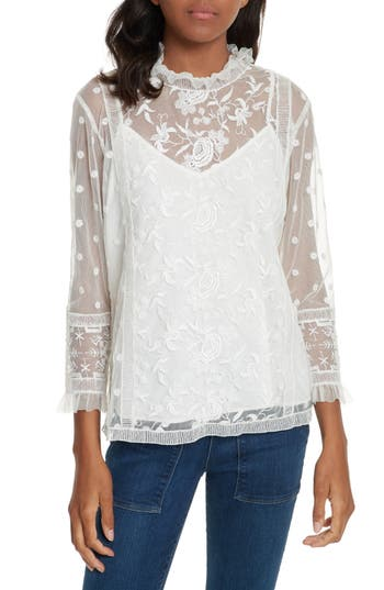 Victorian Blouses, Tops, Shirts, Vests Womens Joie Jaelin Lace Blouse Size Small - White $119.20 AT vintagedancer.com