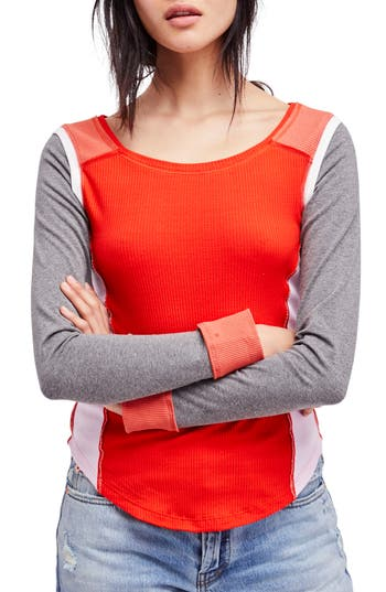 Free People Fancy That Colorblock Tee, Red