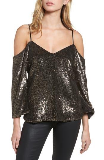 Women's Bardot Sequin Cold Shoulder Top, Size X-Small - Metallic
