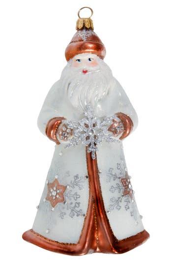 Joy To The World Collectibles Glitterazzi Copper Snowflake Santa Ornament, Size One Size - White