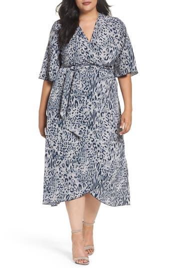 Plus Size Women's Melissa Mccarthy Seven7 Print Wrap Dress, Size 1X - Blue