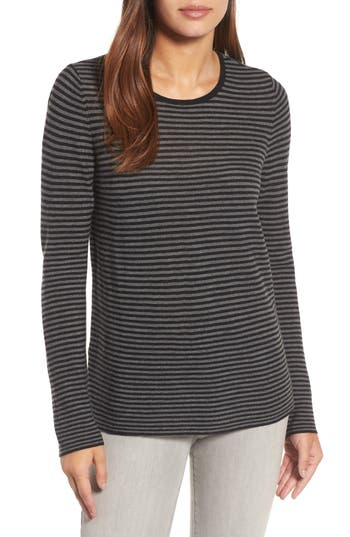 Women's Eileen Fisher Stripe Merino Wool Sweater, Size X-Small - Grey
