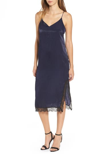 Women's Lace Trim Satin Slipdress, Size Large - Blue