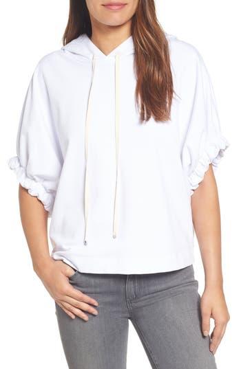 Women's Bobeau Gathered Sleeve Hoodie, Size X-Small - White