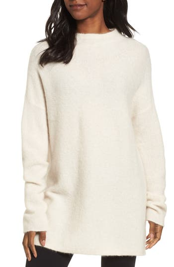 Women's Eileen Fisher Cashmere Blend Tunic Sweater, Size XX-Small - Ivory