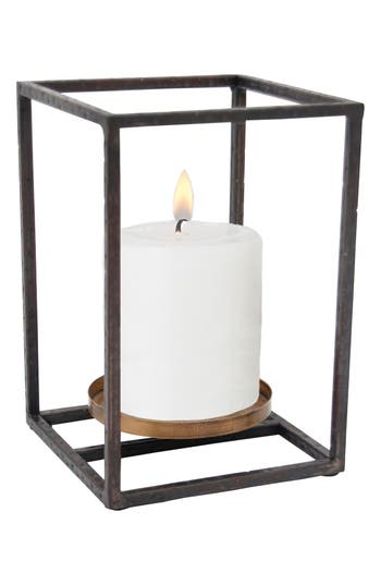 Foreside Small Cube Pillar Candle Holder, Size One Size - Brown
