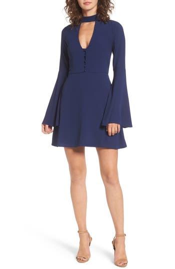 1960s Style Formal Dresses Womens Socialite Harper Bell Sleeve Dress Size Medium - Blue $49.00 AT vintagedancer.com