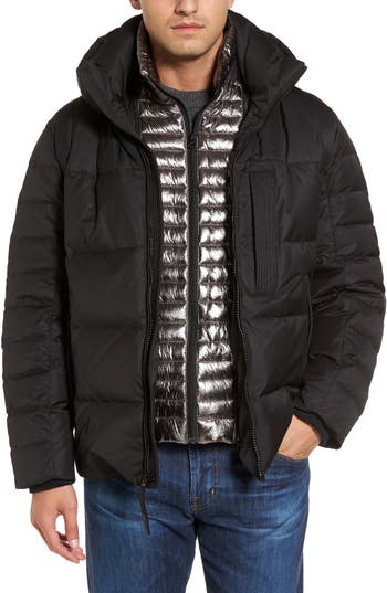 Andrew Marc Quilted Down Jacket With Zip Out Bib, Black