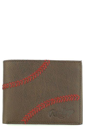 Men's Rawlings Home Run Bifold Leather Wallet - Brown