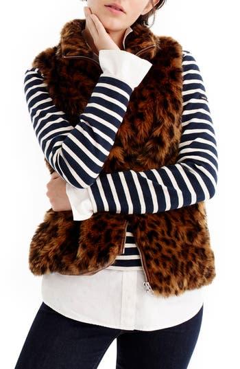 Women's J.crew Faux Leopard Fur Vest