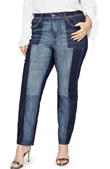 Plus Size Women's Addition Elle Love And Legend Jordyn Woods Patch Relaxed Slim Fit Jeans