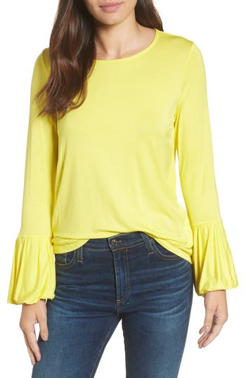 Women's Bobeau Bell Sleeve Top, Size X-Small - Yellow