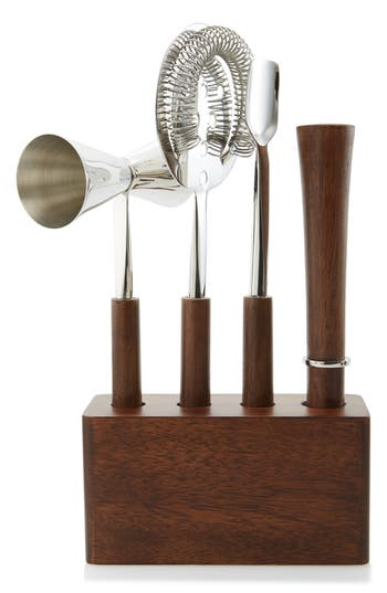 Nordstrom At Home 4-Piece Stainless Steel & Wood Bar Set