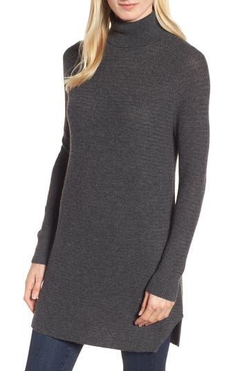 Women's Halogen Turtleneck Tunic Sweater, Size X-Small - Grey