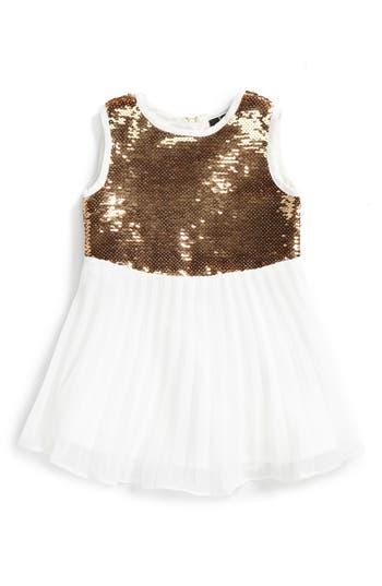 Toddler Girl's Bardot Junior Sequin Dress, Size 3-6M US / 000 AUS - Metallic