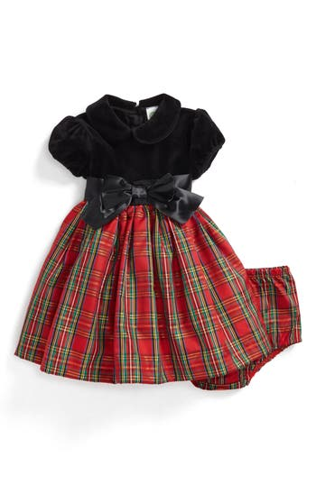 Kids 1950s Clothing & Costumes: Girls, Boys, Toddlers Infant Girls Little Me Plaid Fit  Flare Dress $45.00 AT vintagedancer.com