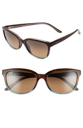 Maui Jim Honi 5m Polarized Cat Eye Sunglasses - Sandstone With Blue/ Bronze