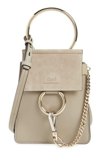 Chloé Faye Small Suede & Leather Bracelet Bag - Grey
