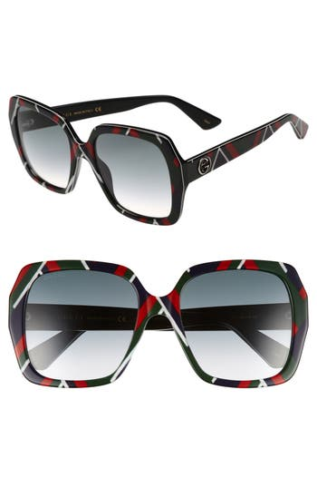Women's Gucci 54Mm Gradient Square Sunglasses - Multi/ Grey