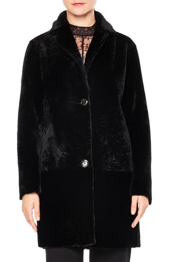 Sandro H16 Sticky Genuine Shearling Coat, Black