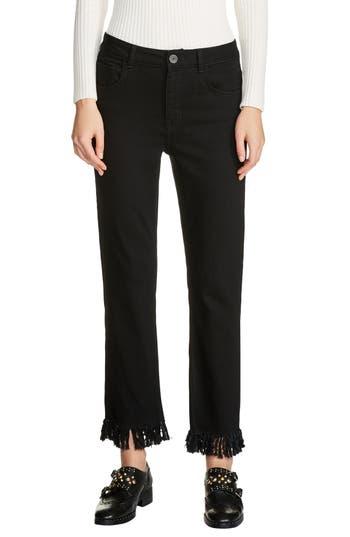 Women's Maje Fringe Hem Crop Jeans, Size 36 - Black