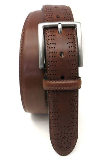 Boconi Perforated Tab Leather Belt, Cognac