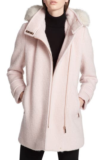 Women's Calvin Klein Hooded Wool Blend Jacket With Faux Fur Trim, Size X-Small - Pink